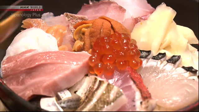 Kaisendon at the most famous donburi restaurant in Tsukiji features up to 12 types of seasonal seafood