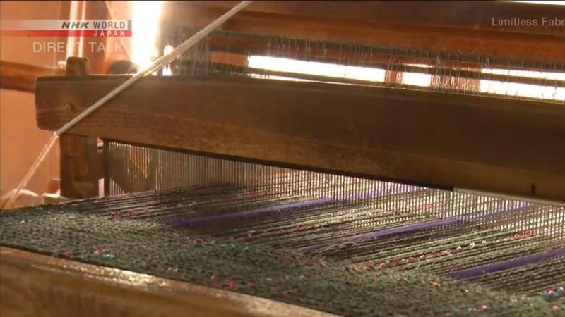 A traditional hand-weaving loom, influenced by Scottish wool looms during the Meiji era