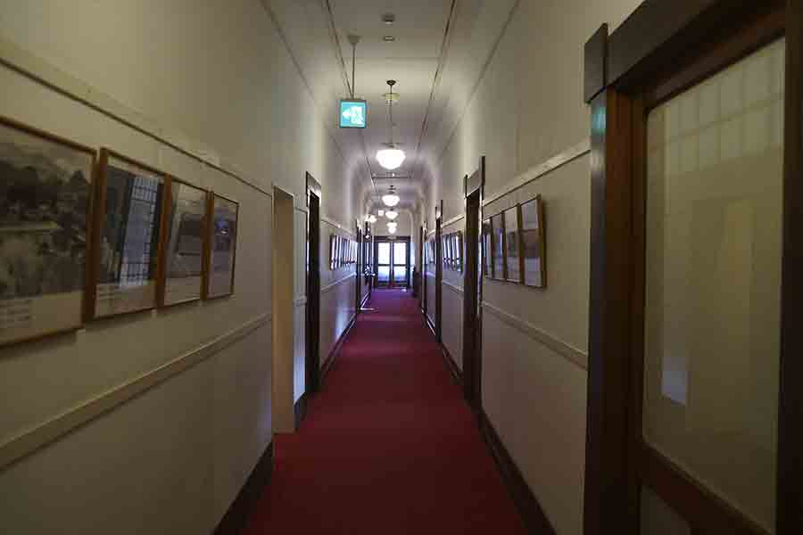 The hallways of the Kanaya Hotel are filled with commemorative pictures and exhibits from guests that have visited the hotel.