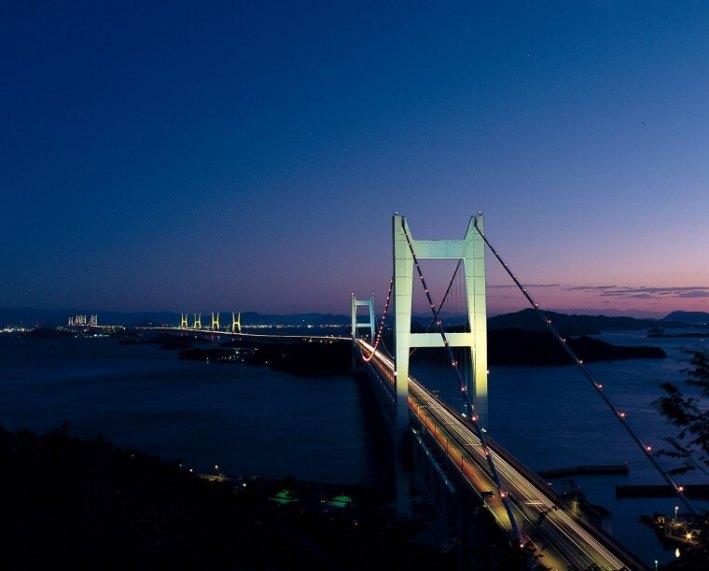 Night view of the Great Seto Bridge