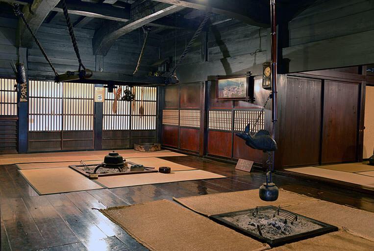 Inside a gasshō-zukuri