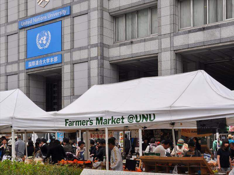 Farmer's Market is held every weekend at UN university.