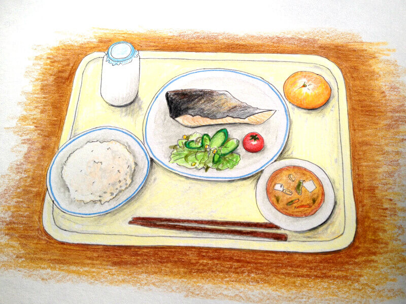 Typical lunch meal includes, main dish, salad, soup, rice or bread, fruit, and milk.