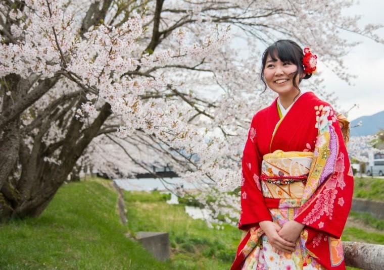 Kimono and cherry blossoms