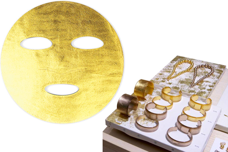 Gold Leaf Mask, 4,500 yen Acrylic bangles, starting from 5,000 yen