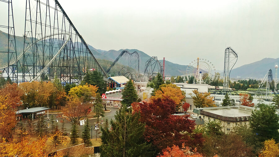 Seats facing Fuji-Q Highland feature a grand view of roller coasters