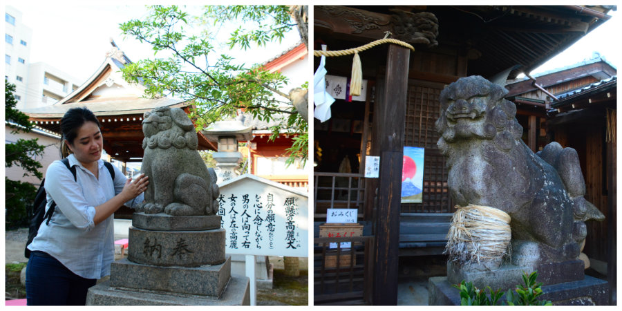 komainu statues in shrines in Niigata