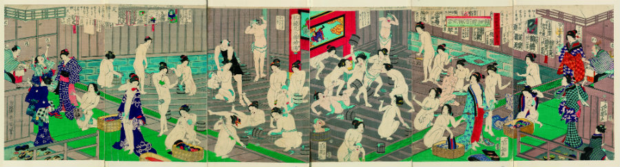 "TOYOHARA KUNICHIKA ""Naked bodies compared to irises in hot water, comparing hips to a snow laden willow in hot water."" 1868"