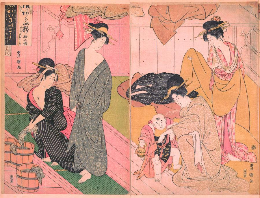 """Utagawa Toyokuni I """"Women and an Infant Boy in a Public Bath House"""" 1799"""