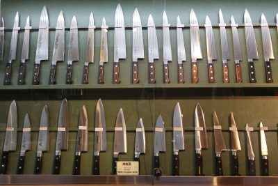 Kamata shop knives on display