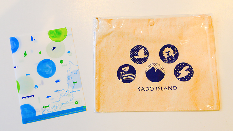 Niigata, Sado City Cycling musette bag & clear file set