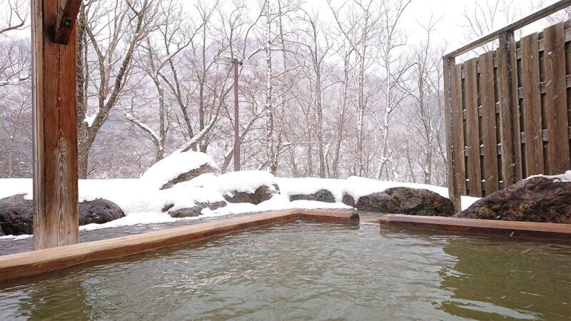 snow viewing onsen